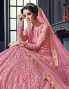 photo of Festive Special Reception Wear Wear Fancy Embellished Pink Lehenga In Net Fabric