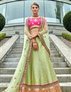 image of Wedding Special Embroidered Green Designer 3 Piece Lehenga In Art Silk Fabric
