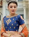 photo of Festive Special Occasion Wear Lehenga In Orange Art Silk Fabric With Embroidery Work
