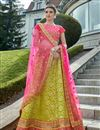 image of Wedding Special Embroidery Designs On Art Silk Green Festive Wear Lehenga
