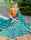 photo of Wedding Special Embroidered Occasion Wear Lehenga In Turquoise Art Silk Fabric