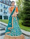image of Wedding Special Embroidered Occasion Wear Lehenga In Turquoise Art Silk Fabric