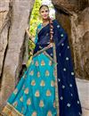 image of Festive Special Embroidered Sky Blue Designer 3 Piece Lehenga In Art Silk Fabric