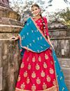 image of Wedding Special Occasion Wear Lehenga In Crimson Art Silk Fabric With Embroidery Work
