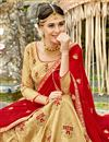 photo of Embroidered Cream Art Silk Festive Wear Lehenga With Embroidery