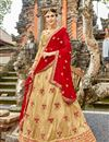 image of Embroidered Cream Art Silk Festive Wear Lehenga With Embroidery
