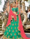 image of Best Selling Art Silk Dark Green Designer 3 Piece Lehenga Choli With Embroidery Designs