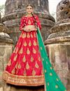 image of Embroidery Work On Red Art Silk Occasion Wear Lehenga