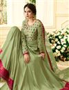 picture of Jennifer Winget Art Silk Party Wear Anarkali Salwar Kameez In Sea Green With Embroidery Work