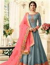 image of Jennifer Winget Light Cyan Art Silk Festive Wear Anarkali Salwar Suit With Embroidery Work
