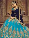 photo of Embroidered Sky Blue Color Wedding Wear Designer 3 Piece Lehenga In Art Silk Fabric