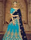 image of Embroidered Sky Blue Color Wedding Wear Designer 3 Piece Lehenga In Art Silk Fabric