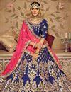 photo of Embroidery Designs On Art Silk Fabric Navy Blue Wedding Wear Lehenga