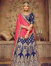 image of Embroidery Designs On Art Silk Fabric Navy Blue Wedding Wear Lehenga