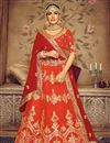 image of Eid Special Occasion Wear Lehenga In Orange Color  Art Silk Fabric With Embroidery Work