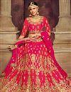 photo of Embroidered Rani Color Designer 3 Piece Lehenga Choli In Art Silk Fabric