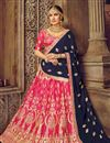 image of Dark Pink Art Silk Fabric Embroidery Work Reception Wear Lehenga