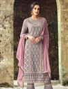 image of Grey Georgette Embellished Straight Cut Salwar Kameez