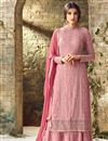image of Festive Special Pink Georgette Embellished Suit With Palazzo Bottom