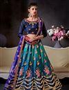 image of Embroidered Teal Designer 3 Piece Lehenga In Art Silk Fabric