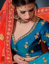 photo of Embroidery Designs On Satin Dark Cyan Wedding Wear Lehenga