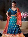 image of Embroidery Designs On Satin Dark Cyan Wedding Wear Lehenga