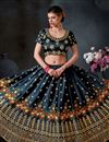image of Art Silk Party Wear Lehenga Choli In Black With Embroidery Work