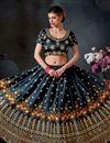 image of Art Silk Black Designer 3 Piece Lehenga Choli With Embroidery Designs