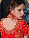 photo of Red Art Silk Embroidery Work Reception Wear Lehenga