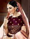 photo of Embroidered Maroon Bridal Lehenga In Satin Fabric with Designer Choli
