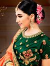 photo of Art Silk Wedding Wear 3 Piece Lehenga In Dark Green With Embroidery Work