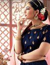 photo of Embroidered Wedding Wear Lehenga Choli In Navy Blue Satin Fabric