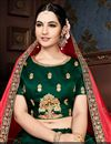 photo of Embroidery Work On Wedding Wear Bridal Lehenga In Dark Green Fancy Fabric With Blouse