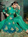 photo of Art Silk Designer Embroidered Anarkali Salwar Suit In Green