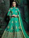 image of Art Silk Designer Embroidered Anarkali Salwar Suit In Green