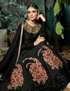 photo of Embroidery Designs On Black Art Silk Party Wear Anarkali Salwar Suit
