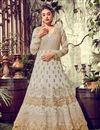 image of Dark Beige Art Silk Fabric Festive Wear Anarkali Suit With Embroidery Designs