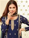 photo of Straight Cut Party Style Navy Blue Embroidered Suit In Georgette