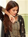 photo of Straight Cut Party Style Black Embroidered Suit In Georgette