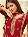 photo of Red Straight Cut Function Wear Embroidered Georgette Suit