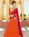 image of Georgette Fabric Orange Fancy Embroidered Designer Lehenga Choli