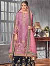 image of Lavender Color Designer Embroidered Straight Cut Palazzo Suit In Georgette