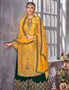 image of Designer Fancy Georgette Yellow Palazzo Dress With Embroidery Work