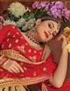 photo of Cream Art Silk Fabric Embroidery Work Reception Wear Lehenga