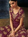 photo of Georgette Function Wear Traditional Long Floor Length Burgundy Embroidered Anarkali Dress