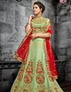 image of Designer Function Wear Art Silk Traditional Embroidered Lehenga Choli In Sea Green