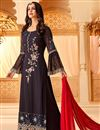 image of Function Wear Black Designer Embroidered Georgette Palazzo Dress