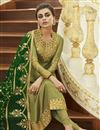 photo of Embroidery Designs On Satin Georgette Fabric Khaki Color Function Wear Straight Cut Salwar Suit