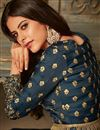 photo of Party Style Navy Blue Embroidered Palazzo Salwar Suit In Art Silk