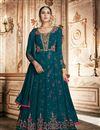 image of Occasion Wear Georgette Fabric Embroidered Anarkali Salwar Kameez In Teal Color